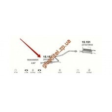 Резонатор Ниссан Санни (Nissan Sunny) 90-92 1.6 kombi kat (15.152) Polmostrow алюминизированный