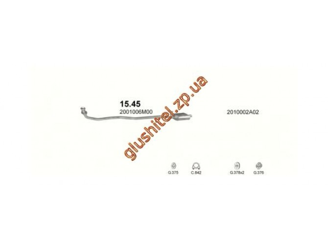 Резонатор Ниссан Чери (Nissan Cherry) 82-86 / Ниссан Санни (Nissan Sunny) 82-86 1.3 N12 (15.45) Polmostrow алюминизированный