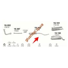 Резонатор Пежо 206 (Peugeot 206) 1.6 98-00 (19.195) Polmostrow алюминизированный