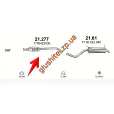 Резонатор Рено Меган (Renault Megane) / Рено Сценик I (Renault Scenic I) 1.6i 16V/1.8i 16V 99- KAT (21.277) Polmostrow алюминизированный