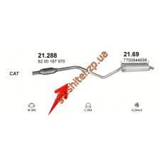 Резонатор Рено Меган (Renault Megane) 1.6i -16V; 1.9dCi TD 98-10/02 (21.288) Polmostrow алюминизированный