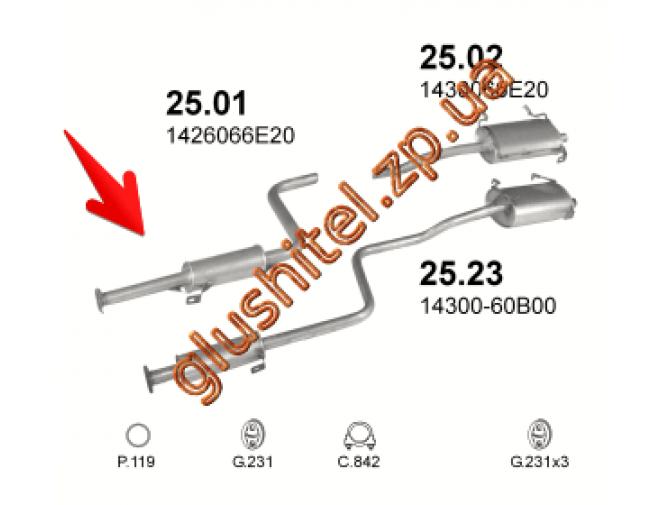Резонатор Сузуки Свифт (Suzuki Swift) 1.0 88-91 (25.01) Polmostrow алюминизированный