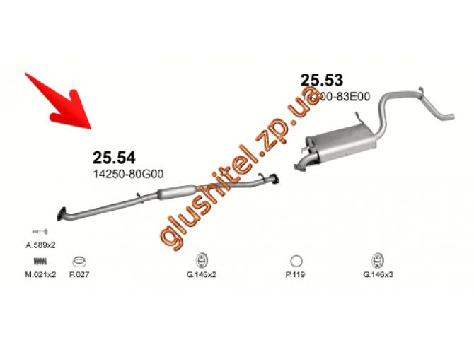Резонатор Сузуки Вагон (Suzuki Wagon) R+ 1.3i - 16V 00- (25.54) Polmostrow алюминизированный