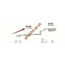 Резонатор Тойота Ярис 1.0 -16V (Toyota Yaris 1.0 -16V) (26.286) 99-03 Polmostrow алюминизированный