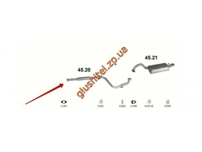 Резонатор Крайслер Себринг (Chrysler Sebring) 2.5   95-00 (45.20) Polmostrow алюминизированный