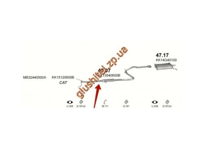 Резонатор Киа Прайд (Kia Pride) Combi 98- 1.3i (47.07) Polmostrow алюминизированный