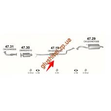 Резонатор Киа Рио (Kia Rio) 1.3/1.5 16V 2000-2002 (47.19) Polmostrow алюминизированный