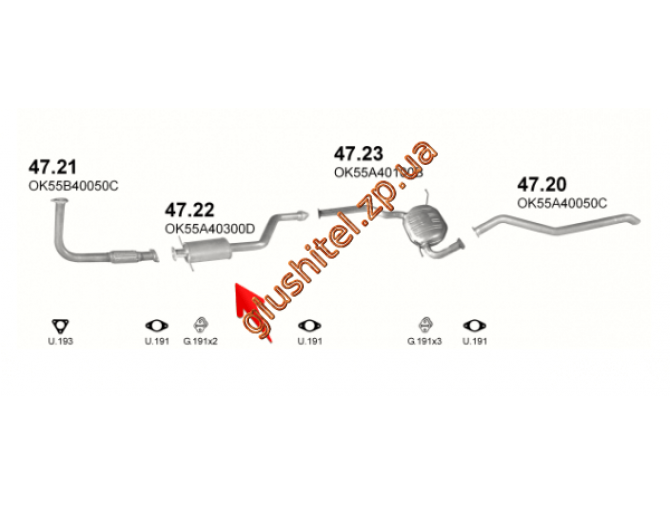 Резонатор Киа Карнивал (Kia Carmival) 2.9 TDi 99-01 (47.22) Polmostrow алюминизированный