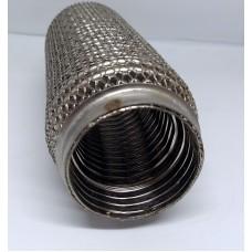 Гофра глушителя 50Х200 усиленная Interlock кольчуга (3 слоя, короткий фланец / нерж.сталь) Ribuko