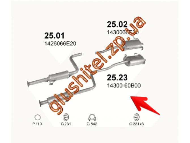 Система 25.23 Suzuki Swift 1.0i/1.3i 88-05 3D Polmostrow алюминизированный
