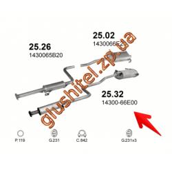 Система Сузуки Свифт (Suzuki Swift) 1.0i / 1.3i 89- (25.32) Polmostrow алюминизированный