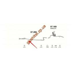 Средняя трубка глушителя Фиат Албеа (Fiat Albea) 1.4 8V (07.288) Polmostrow алюминизированный