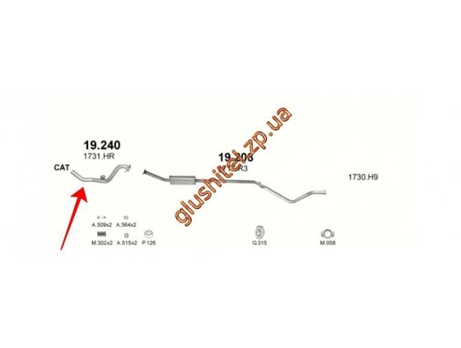 Труба глушителя Ситроен С4 (Citroen C4) 1.6i-16V 04, Пежо 307 (Peugeot 307) 1.6i-16V 01-04 (19.240) Polmostrow алюминизированный