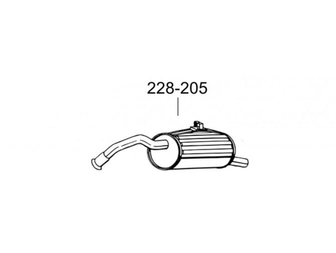 Глушитель Тойота Старлет (Toyota Starlet) 96-99 (228-205) Bosal алюминизированный