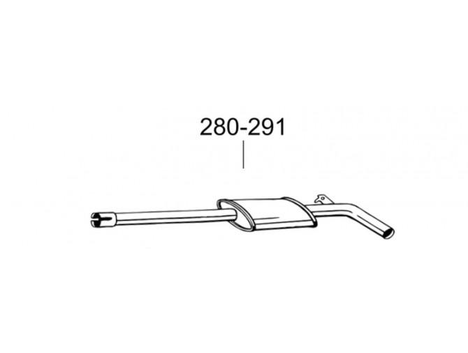 Труба Фиат Пунто II (Fiat Punto II) 1,2-8V 05 (900-027) Bosal 07.399 алюминизированная