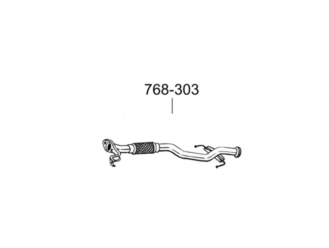 Труба Хюндай Гетс (Hyundai Getz) 1.3i 12V,02-06 (768-303) Bosal 10.62 алюминизированная