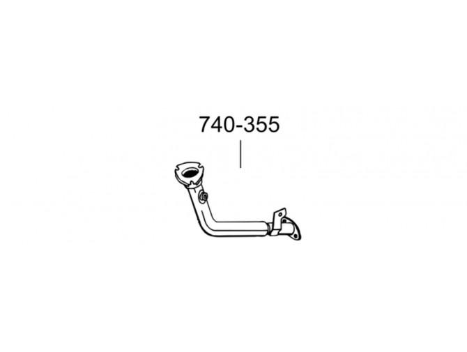 Труба Пежо 206 (Peugeot 206) 1.4i/1.6 98-01 (740-355) Bosal 19.202 алюминизированная