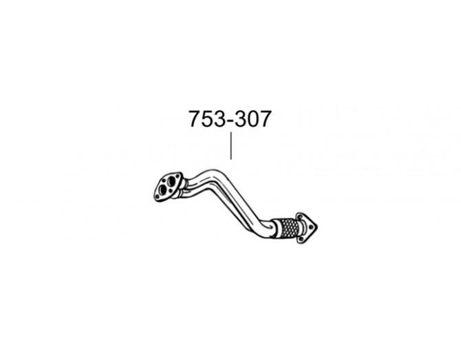 Труба приемная Ауди А4, А6 (Audi A4, A6)/Фльксваген Пассат Б5 (Volkswagen Passat B5) (753-307) Bosal 01.208 алюминизированный