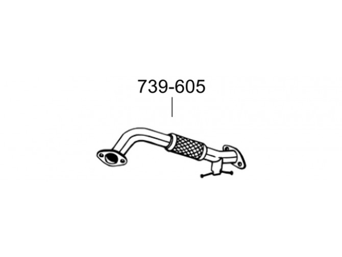 Труба приемная Форд С-Макс, Фокус МКII (Ford C-Max, Focus)/Мазда 3 (Mazda 3)/Вольво C30, S40, S80, V50, V70 (Volvo C30, S40, S80, V50, V70) 04-12 (739-605) Bosal 08.653 алюминизированный