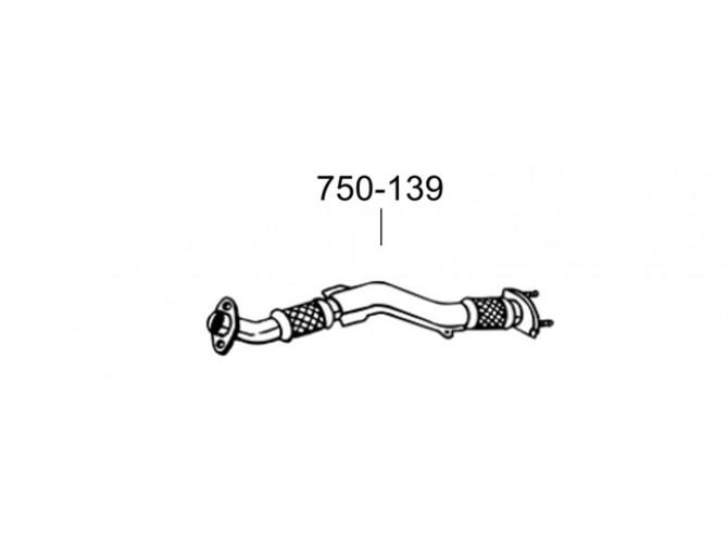 Труба приемная Ниссан Икс-трейл (Nissan X-Trail) 03-06 (750-139) Bosal алюминизированный