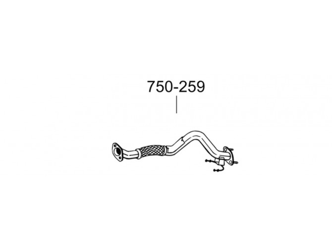 Труба приемная Фольксваген Гольф VI (Volkswagen Golf VI)/Шкода Єті (Skoda Yeti) 1.2 09-10 (750-259) Bosal 24.73 алюминизированная