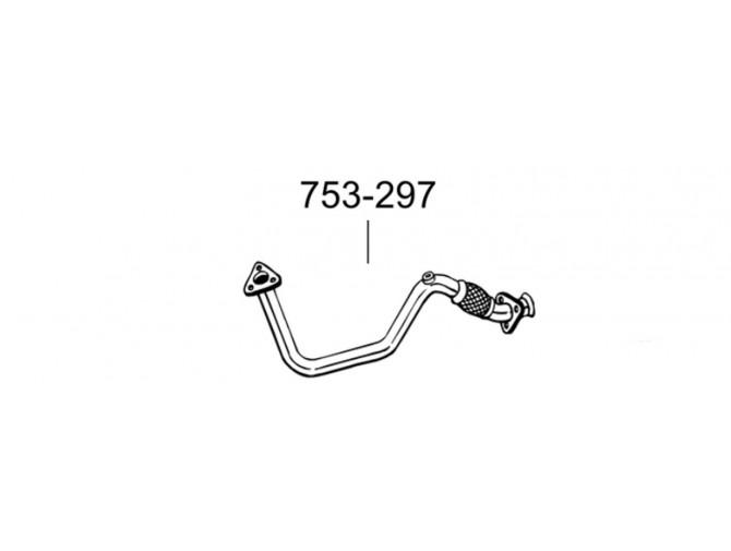 Труба Фольксваген Венто (Volkswagen Vento) 95-98 (753-297) Bosal алюминизированная