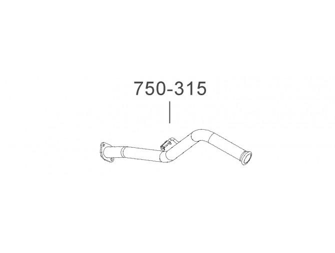 Труба выхлопная Таврия-110550 Пикап (110550-1201075-11) Украина Bosal алюминизированный