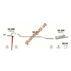 Трубка приемная Ситроен Ксара Пикасо (Citroen Xsara Picasso) 1.6 D 04-11 (04.296) Polmostrow алюминизированный