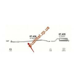 Труба соединительная Фиат Гранде Пунто (Fiat Grande Punto) 1.4 - (07.436) Polmostrow алюминизированный