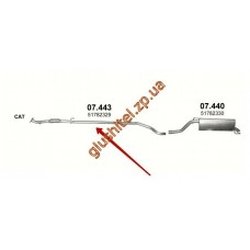 Трубка соединительная Фиат Гранде Пунто (Fiat Grande Punto) 1.3 D 05-07 (07.443) Polmostrow алюминизированный