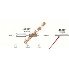 Труба конечная Форд Транзит (Ford Transit) 2.4 TDi 00-04 (08.687) Polmostrow алюминизированный