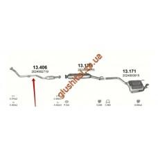 Труба приемная Мерседес С220, С250 (Mercedes C220 , C250) 2.2 / 2.5D 93-98 (13.406) Polmostrow алюминизированный