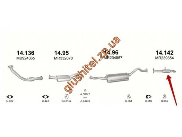 Трубка концевая Митсубиси Паджеро (Mitsubishi Pajero) (14.142) 2.5 D 97-99 Polmostrow алюминизированный