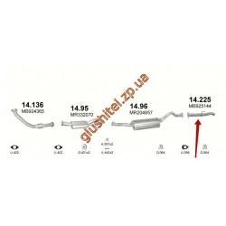 Труба концевая Митсубиси Паджеро (Mitsubishi Pajero) (14.225) 2.8 D 94-96 Polmostrow алюминизированный