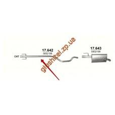 Труба средняя Опель Мерива А (Opel Meriva A) 1.7 D 03-05 (17.642) Polmostrow алюминизированный
