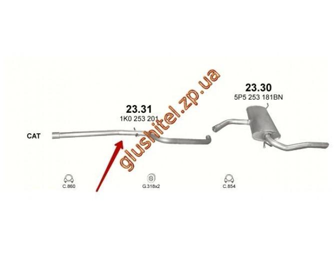 Труба промежуточная Сеат Алтея (Seat Altea) XL 1.9D 06-10 (23.31) Polmostrow алюминизированный