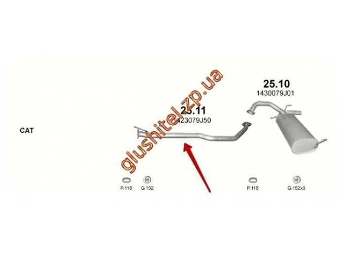 Труба соединительная Сузуки (Suzuki) SX4 1.6 D / 1.9 D 06- (25.11) Polmostrow алюминизированный