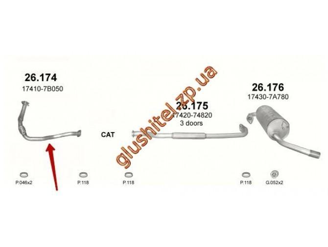 Труба приемная Тойота РАВ4 (Toyota RAV4) (26.174) 1.6 94-00 Polmostrow алюминизированный