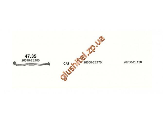 Труба коллекторная Хюндай Туксон / Киа Спортейдж (Hyundai Tucson / Kia Sportage) 2.0 04 (47.35) Polmostrow алюминизированный