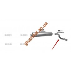 Труба конечная 69.34 Mersedes 6-9 T 609 D/709D/809D/711D/814 DA/VARIO 612 Polmostrow алюминизированный