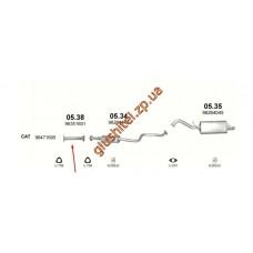 Труба соединительная ДЭУ Ланос / Шевроле Такума (Daewoo Lanos / Chevrolet Tacuma) (05.38) 1.3/1.5/2.0 00-04 Польша Polmostrow алюминизированный