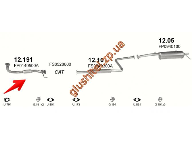 Трубка коллекторная Мазда 626 (Mazda 626) 91-97 1.8i 16V KAT SDN/HB (12.191) Polmostrow алюминизированный