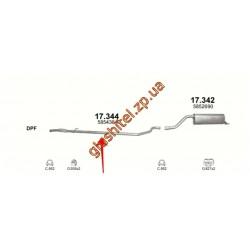 Труба средняя Опель Корса Д (Opel Corsa D) 1.3 CDTI 06 - 09 (17.344) Polmostrow алюминизированный