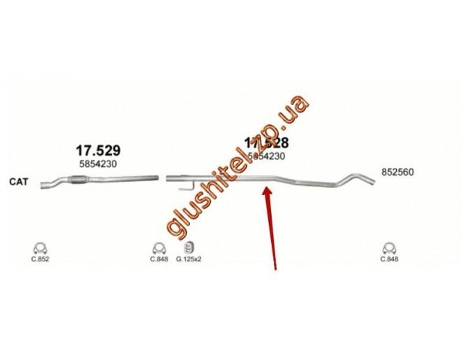 Труба конечная Опель Корса С (Opel Corsa С) / Опель Тигра Твин (Opel Tigra Twin) 1.3D 03-06/04- (17.528) Polmostrow алюминизированный