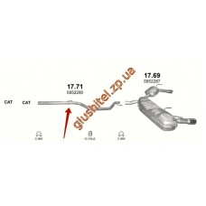 Труба средняя Опель Сигнум, Вектра С (Opel Signum , Vectra C) 1.9 CDTi 03-09 (17.71) Polmostrow алюминизированный