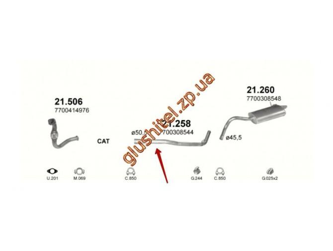 Трубка средняя Рено Кенго (Renault Kangoo) 1.9D 97-03 (21.258) Polmostrow алюминизированный