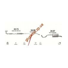 Труба соединительная Шкода Румстер (Skoda Roomster) 1.2 06-09 (24.66) Polmostrow алюминизированный