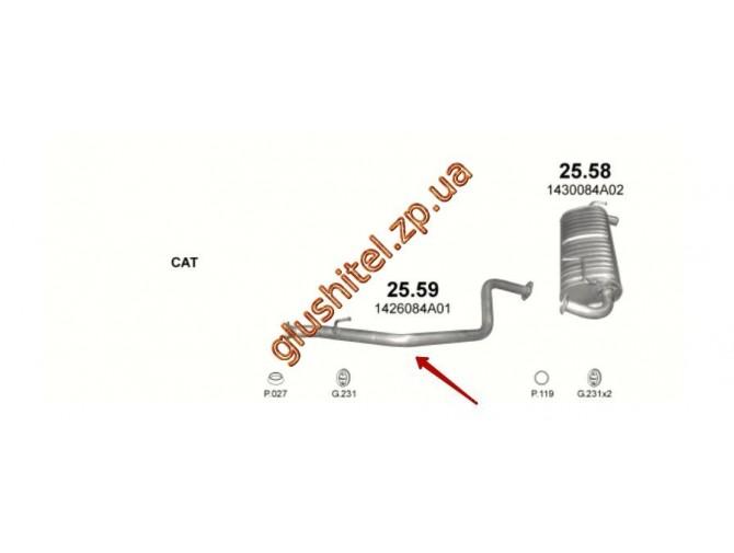 Труба соединительная Сузуки Джмми (Suzuki Jimny) 1.3 00- (25.59) Polmostrow алюминизированный