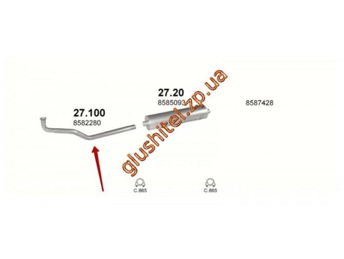 Труба соединительная Ивеко Дейли (Iveco Daily) 2.5D 85-89 (27.100) Polmostrow алюминизированный