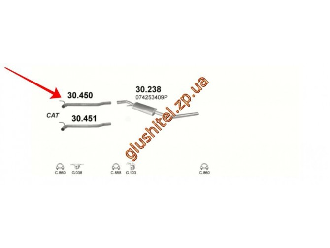 Ремонтная труба глушителя Фольксваген Транспортер IV (Volkswagen Transporter IV) 2.5TD 01/96-07/03 kr. (30.450) Polmostrow алюминизированный